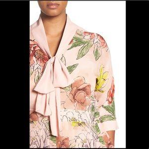 Tie Neck Floral Print Maxi Dress